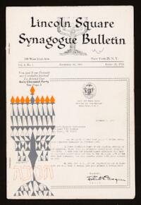 Lincoln Square Synagogue Bulletin Vol. 1 No. 1