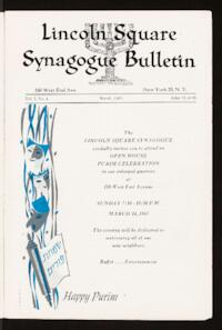 Lincoln Square Synagogue Bulletin Vol. 1 No. 4