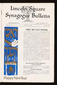 Lincoln Square Synagogue Bulletin Vol. 2 No. 1
