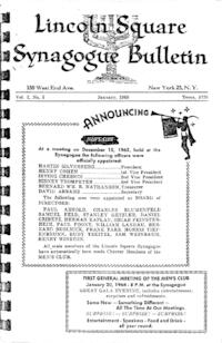 Lincoln Square Synagogue Bulletin Vol. 2 No. 5