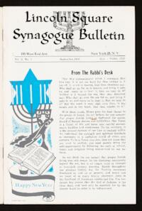 Lincoln Square Synagogue Bulletin Vol. 3 No. 1