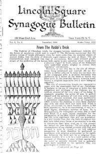 Lincoln Square Synagogue Bulletin Vol. 3 No. 4