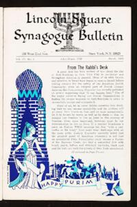 Lincoln Square Synagogue Bulletin Vol. IV No. 5