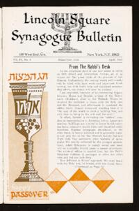 Lincoln Square Synagogue Bulletin Vol. IV No. 6