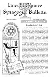 Lincoln Square Synagogue Bulletin Vol. V No. 1