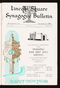 Lincoln Square Synagogue Bulletin Vol. VI No. 1