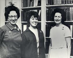 "SCW student Anne Lazarus with First Lady ""Lady Bird"" Johnson at the White House."