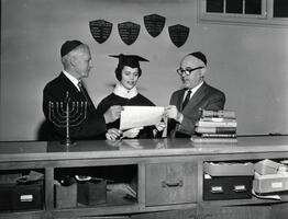 Member of first graduating class Sura (Schreiber) Katz with President Samuel Belkin, Max Stern