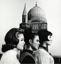 Profiles of three students against backdrop of tower of main building on uptown campus