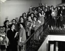 Teachers Institute for Women (TIW) students on stairs