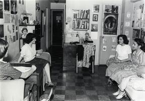 Students in dormitory room