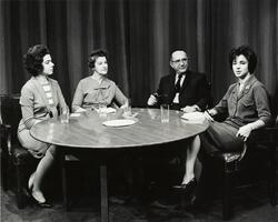 Rabbi Emanuel Rackman, Dean Elizabeth Isaacs, and students appearing on Jewish Heritage television show