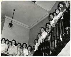 Students of first entering class on stairs