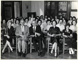 Students of first entering class in classroom with President Samuel Belkin, Ghity and Max Stern, Registrar Cecile Feder, Gloria Stern