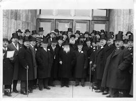 Dignitaries and rabbinic leaders outside main building on Yeshiva College's new campus at the dedication ceremony