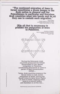 """The continued migration of Jews to Israel constitutes a grave danger to the Arab nation…"""